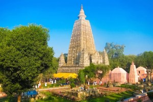The Mahabodhi Temple is shown. It is the most important spiritual sight in Bodh Gaya, India.