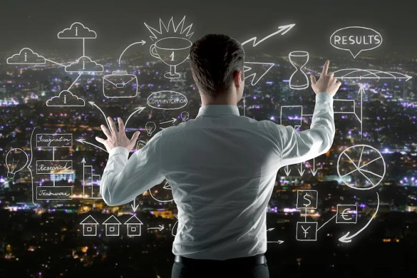 An image is shown of a businessman managing abstract business sketch on night city background. This image represents the notion of business excellence.