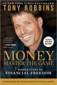 The cover for Tony Robbins' book Money Master the Game is shown.