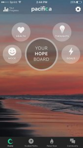 An image shows the home screen of the iOS and Android App, Pacifica.