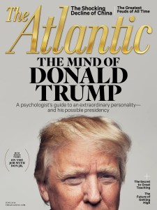 An image shows the cover of The Atlantic Magazine's June 2016 issues which looked into the psychology of Donald Trump.