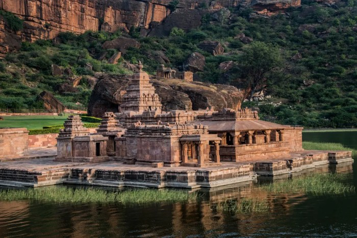 Part of the Badami Cave Temples in India are pictured. The complex is located in the state of Karnatka,