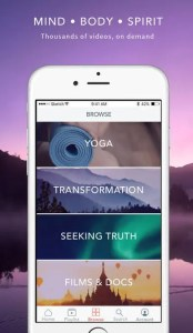 An image shows an iPhone with the Gaia: Conscious Yoga, Meditation, and Spirituality App opened up. It lists videos of Yoga, Transformation, Seeking Truth and Films & Documentaries.