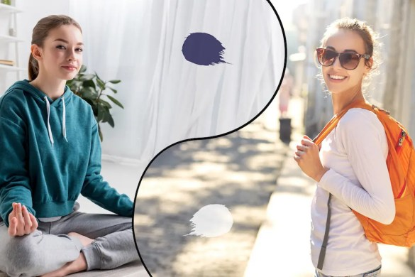 A computer generated image shows two pictures divided by a line that looks like a yin and yang symbol with the woman practicing meditation in one of the pictures and the same woman happily walking in a city in the other. This picture serves as the featured image for Balanced Achievement's article titled 'The Yin and Yang of Stillness and Flow.'