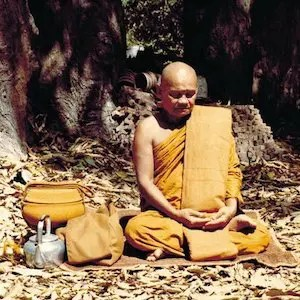 An image shows the immortalized Thai Buddhist monk Ajahn Chah practicing meditation.