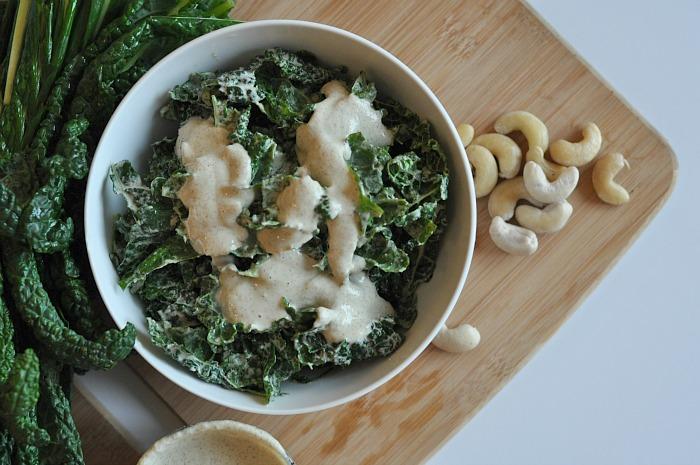 raw vegan kale caesar salad
