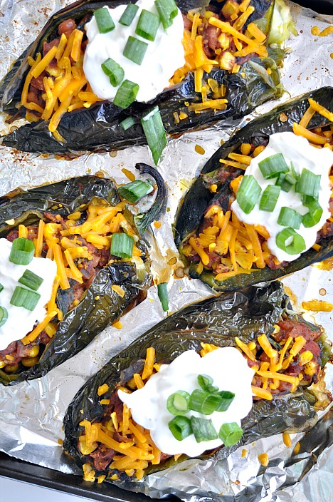 pinto bean vegan stuffed poblano peppers
