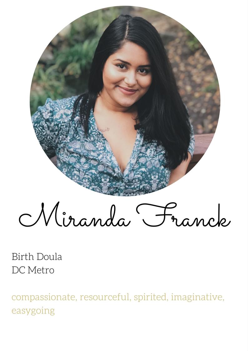 Miranda Franck birth doula experienced nothern va dc