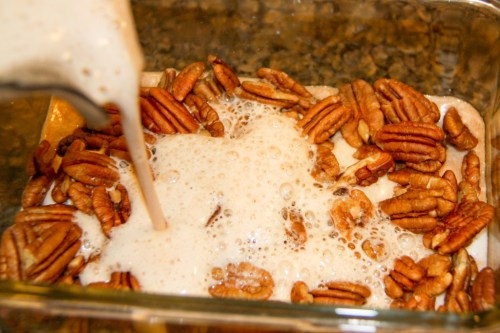 Pour Spiced Juice Mixture Over Pecans