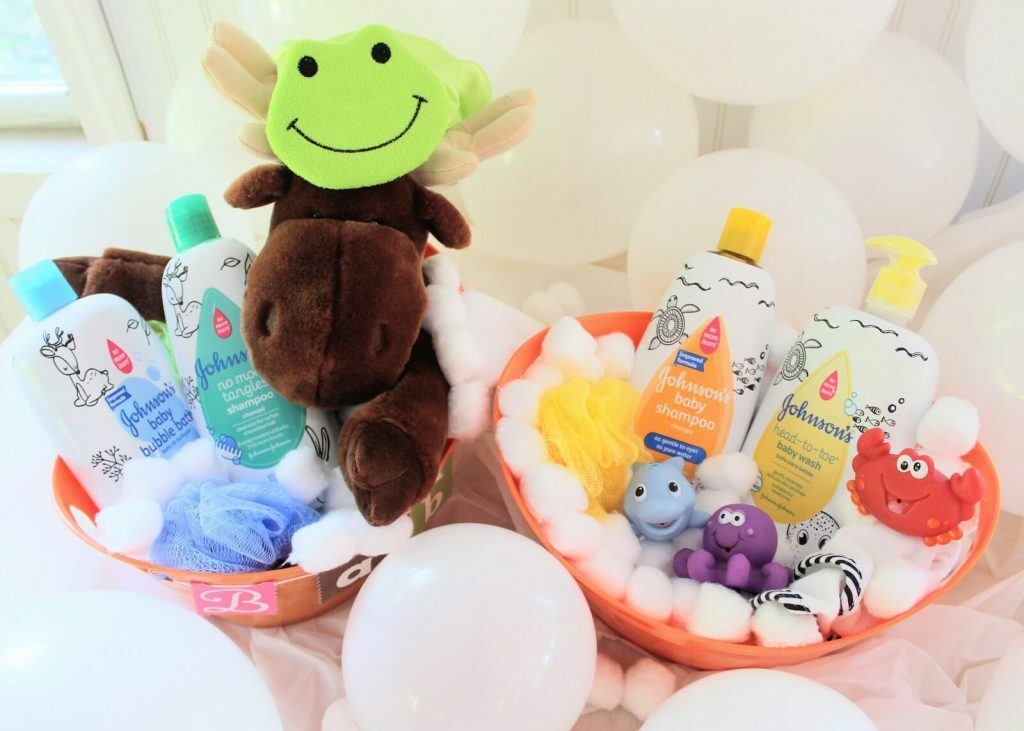 DIY baby shower gift basket with baby soap and shampoo