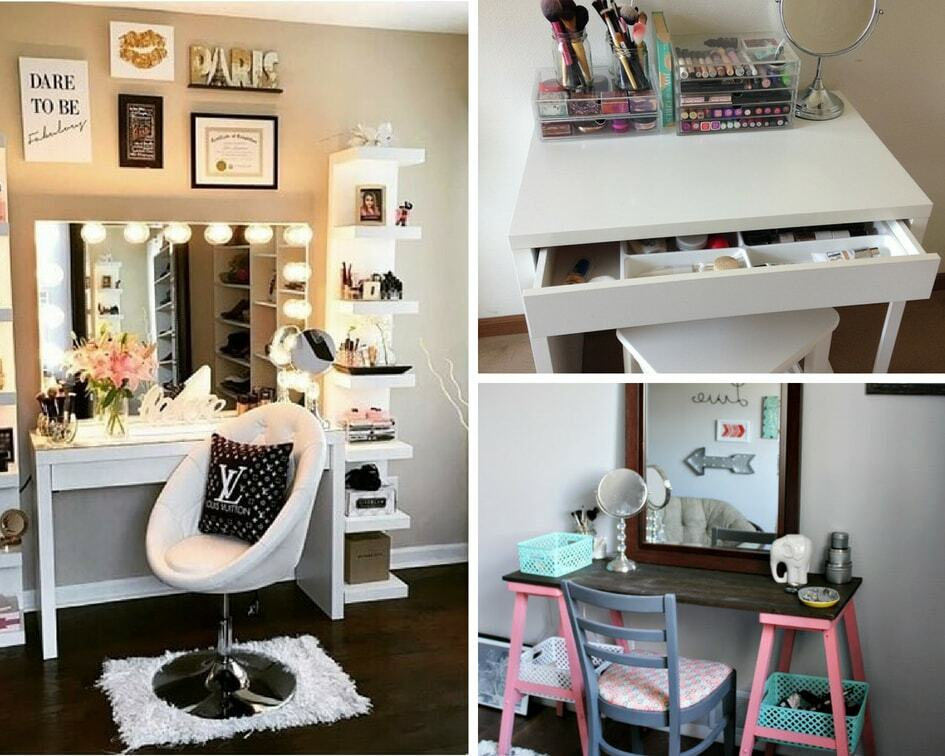 8 Easy DIY Makeup Vanity Ideas You Cannot Miss - Balancing ... on Make Up Room Ideas  id=28585