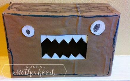 Monster box for all your Valentine's Day cards. Simple to make. via BalancingMotherhood.com