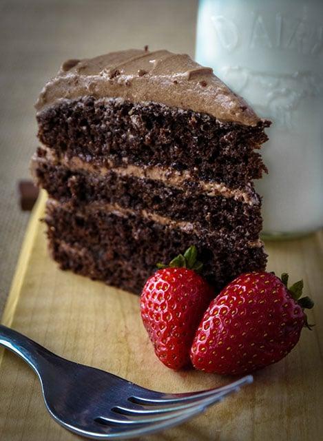 slick of dark chocolate cake with mocha frosting