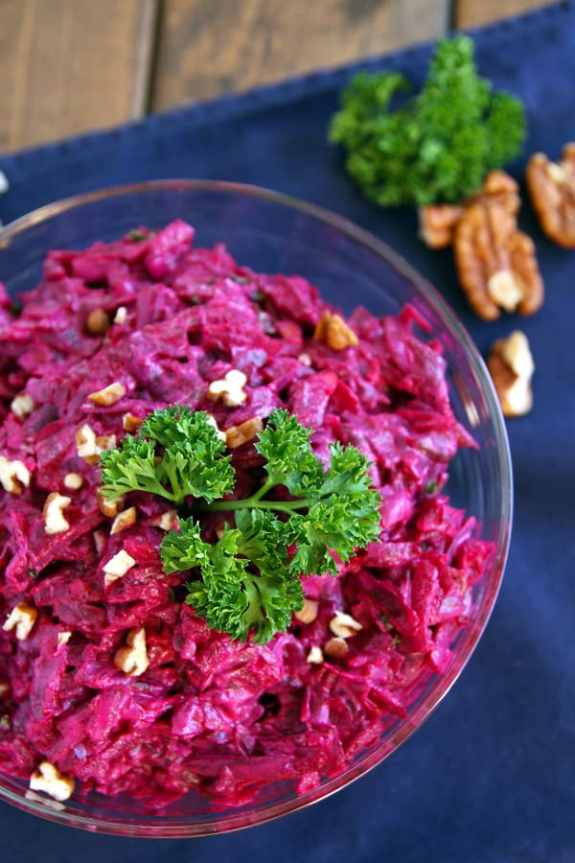 beet salad with parsley in bowl
