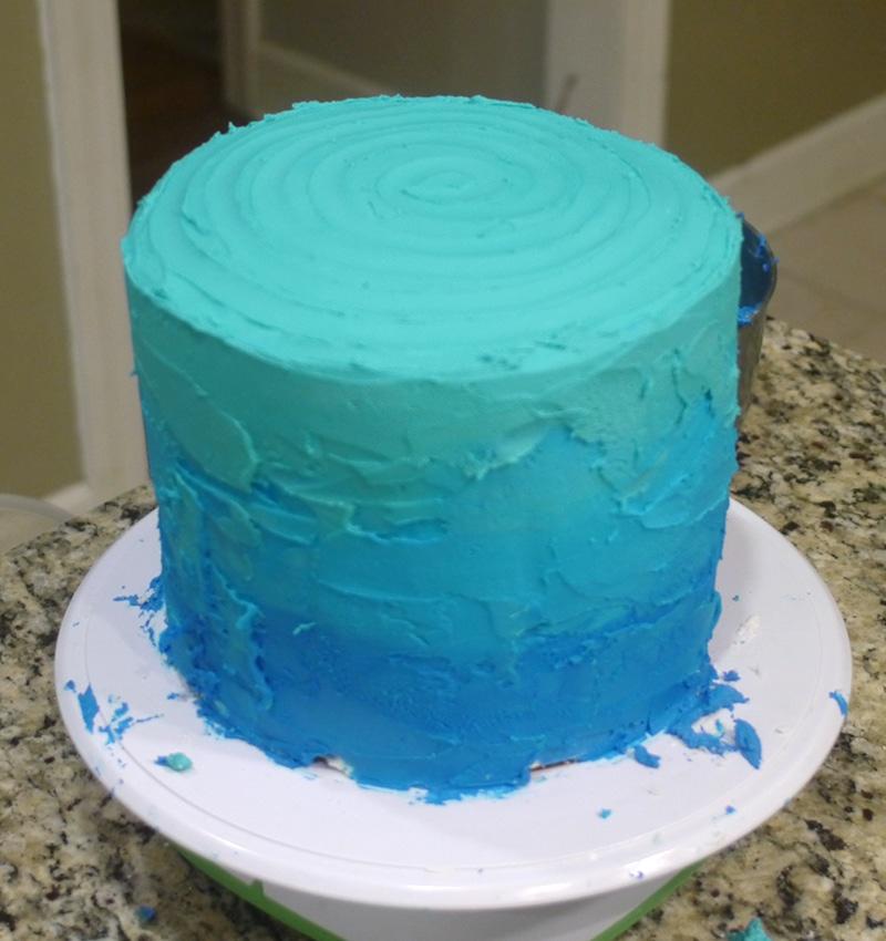 undersea ombre cake