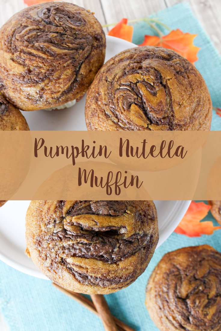 Pumpkin Nutella Muffin recipe. Make these simple muffins from scratch for the perfect fall treat. #pumpkin #muffin #falltreat