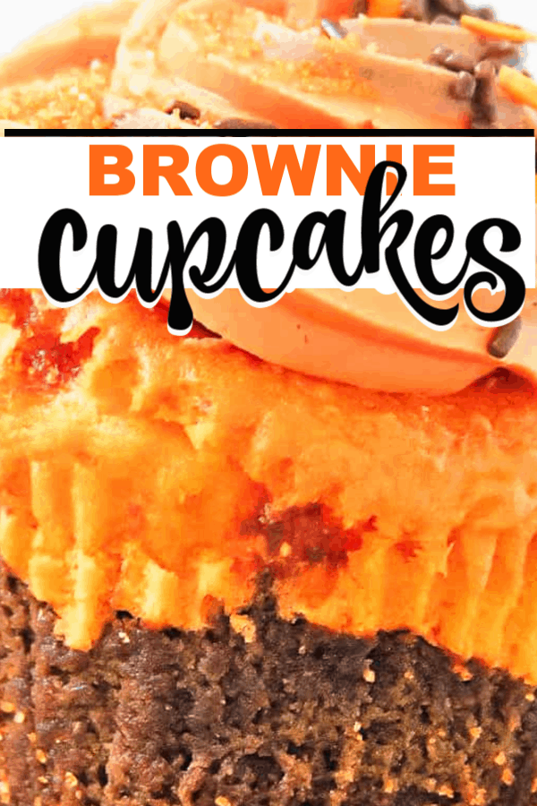 These brownie cupcakes are perfect for all. It's the best mix of brownie on the bottom, and soft cupcake on top, with an amazing butter frosting! #fall #browniecake #cupcakerecipe #cupcake #brownierecipe #brownies #frosting #fallrecipe #falldessert #fallcupcakes #homemade #easy #fromscratch #chocolate