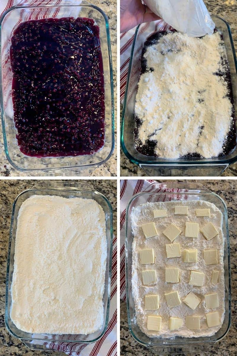 four photos of blueberry dump cake layers