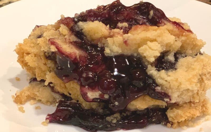slice of blueberry dump cake