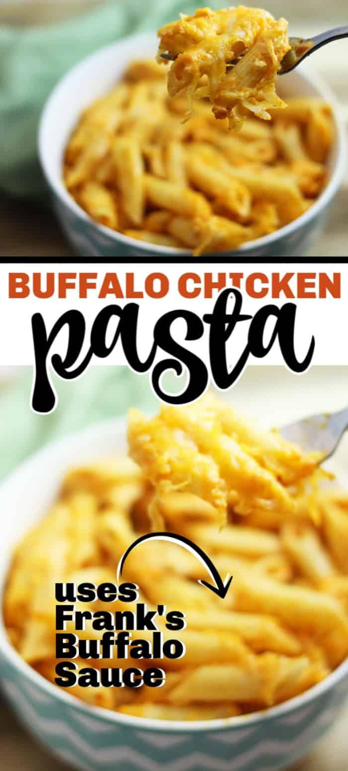 If you like buffalo chicken dip, you're going to love this buffalo chicken pasta. Perfect weeknight meal! #buffalochicken #franksbuffalosauce #franksbuffalosaucerecipe #recipe #pasta #pastadish #pastarecipe #easyrecip #dinner #easydinner #meal #maincourse #chickenpasta #cheesypasta #cheese #buffalochickendip #balancingmotherhood