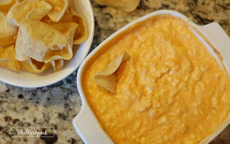 white bowl with baked buffalo chicken dip