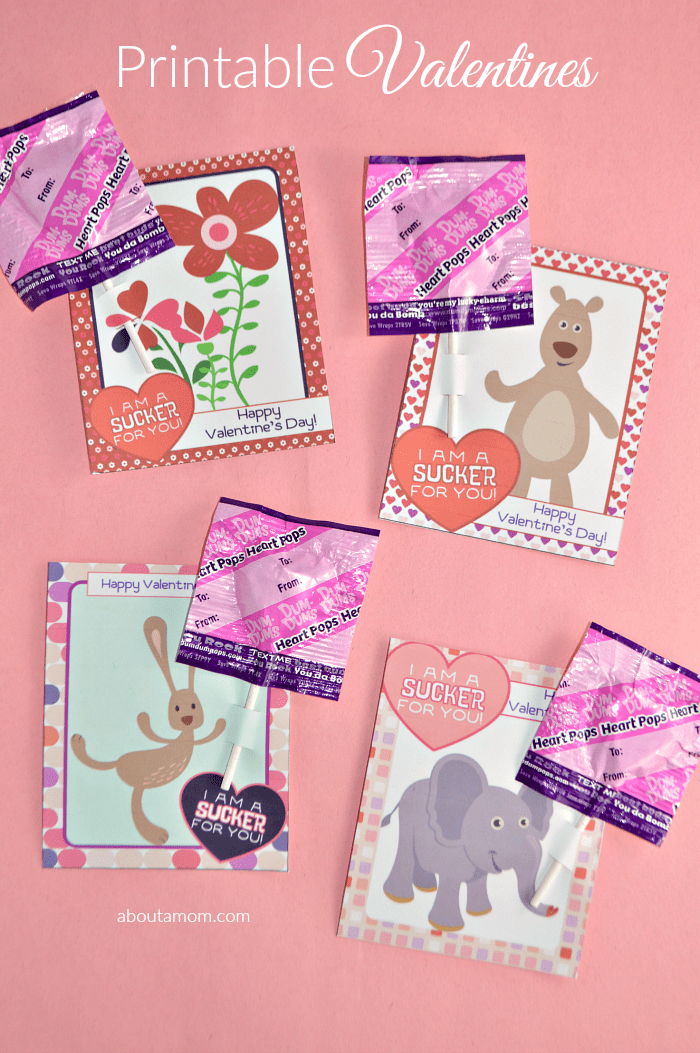 I'm a Sucker for You Printable Valentines for Kids