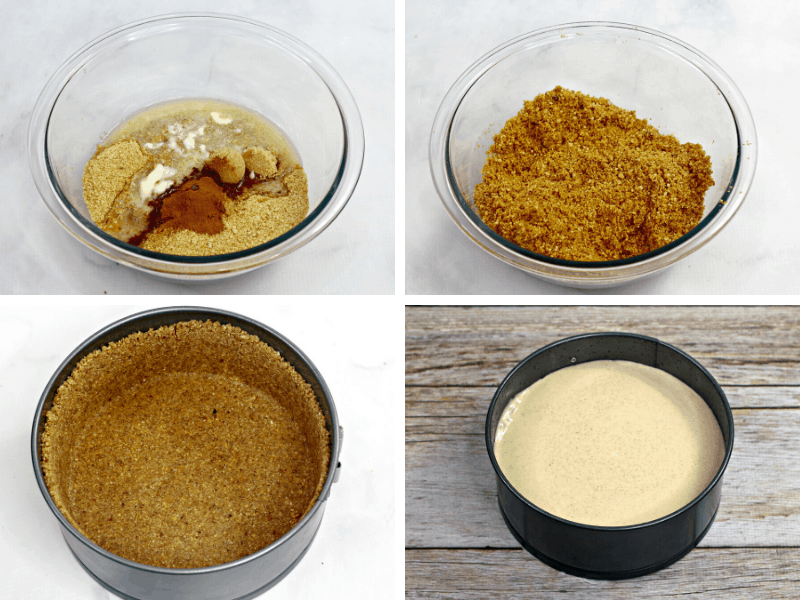 four photos of how to make pumpkin cheesecake crust