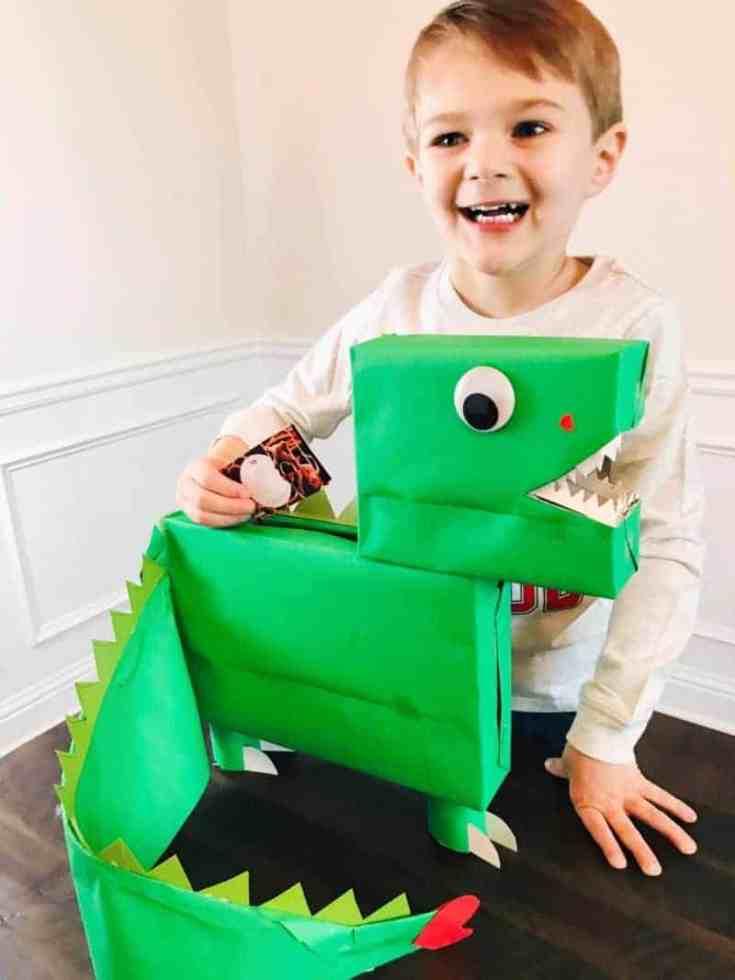 Easy DIY Dinosaur Valentines Box That's Dino-Mite (Dino Valentine Box)