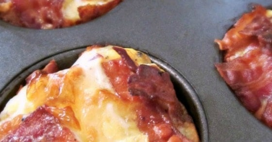 Bacon and Eggs Breakfast Muffins with an Eggo Waffle Crust