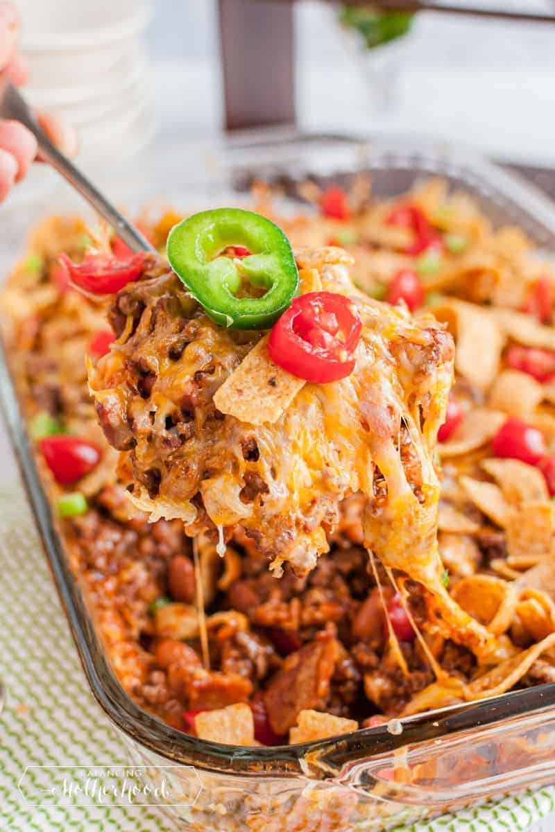 dish with frito pie