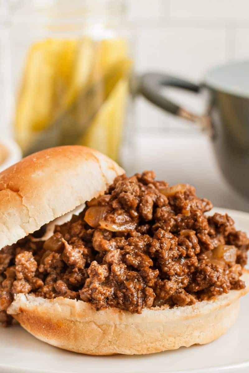 sloppy joe meat on hamburgur bun