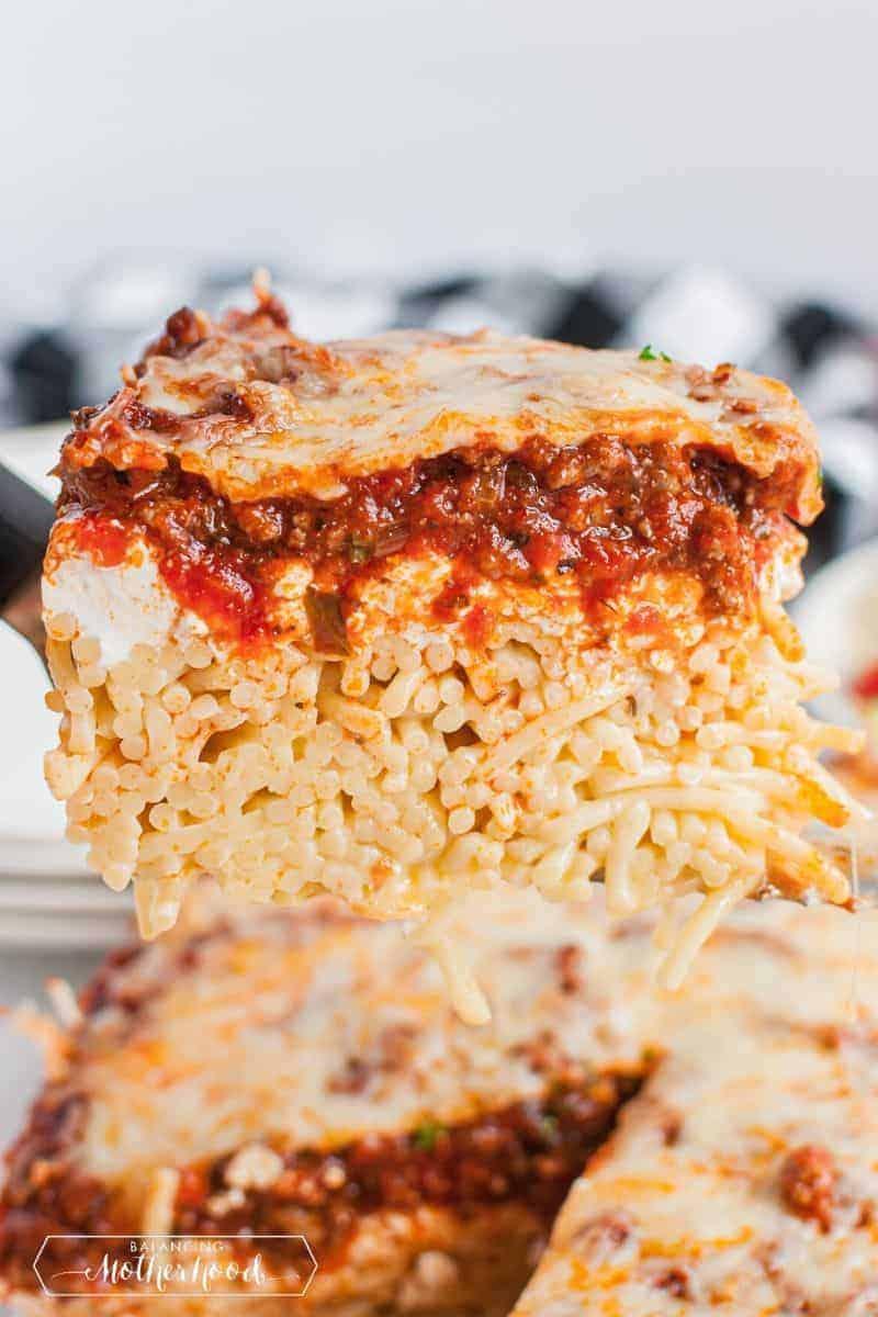 slice of spaghetti pie