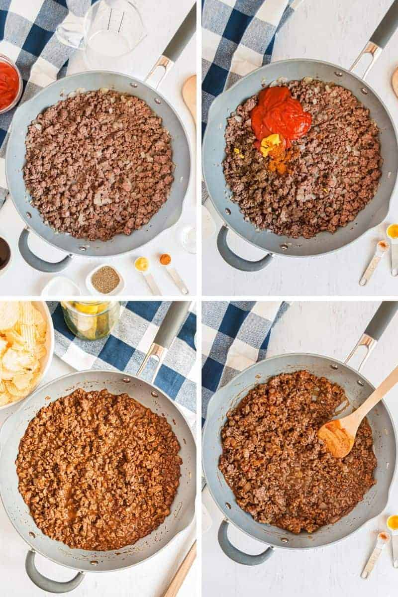 ground beef simmering with sloppy joe sauce