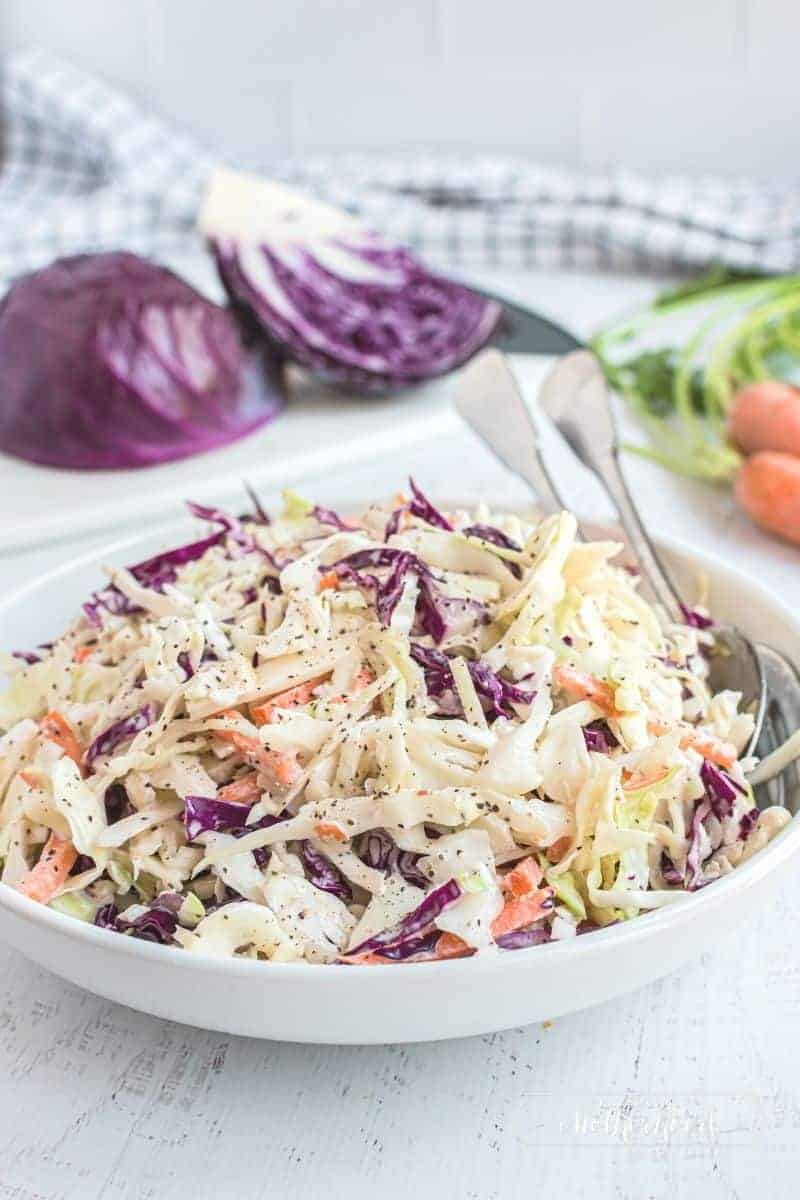 bowl with coleslaw and purple cabbage