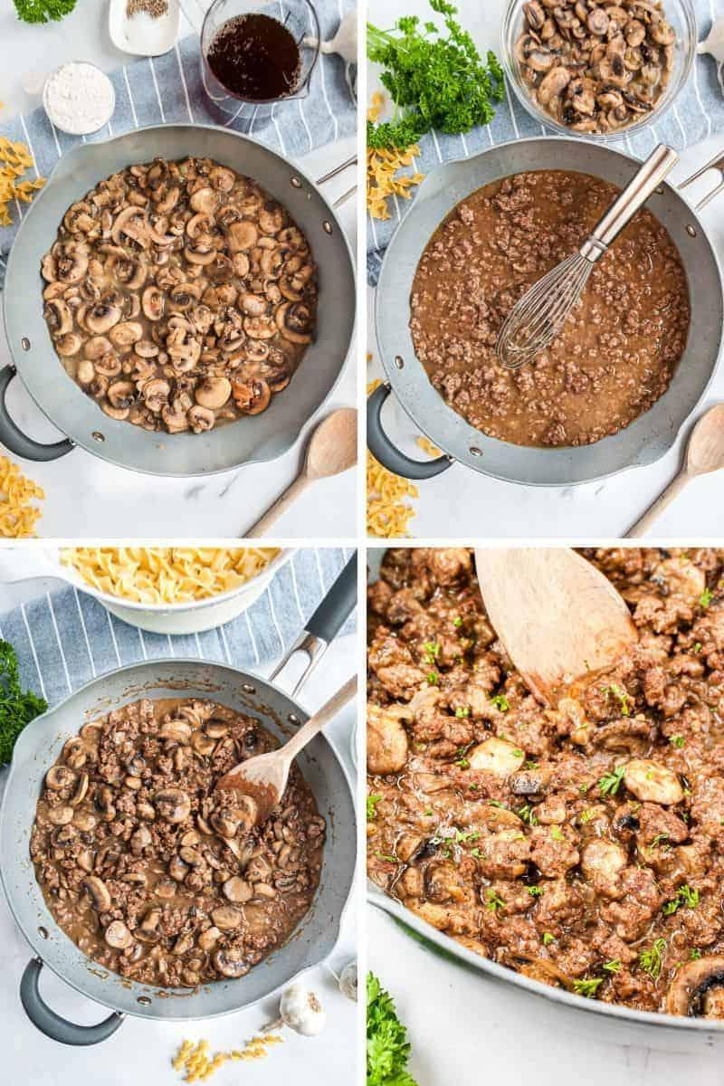 four steps in making ground beef stroganoff