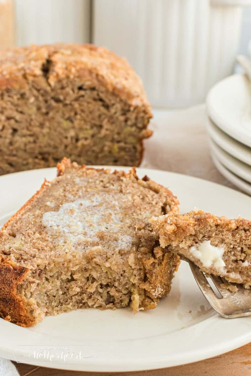 slice of banana bread with butter