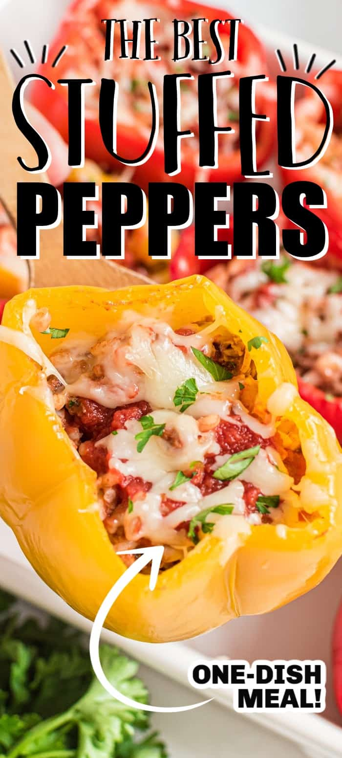 Stuffed bell peppers is an easy dinner with tender peppers stuffed with ground beef, onions, seasonings, and rice, then topped with tomato sauce and cheese.