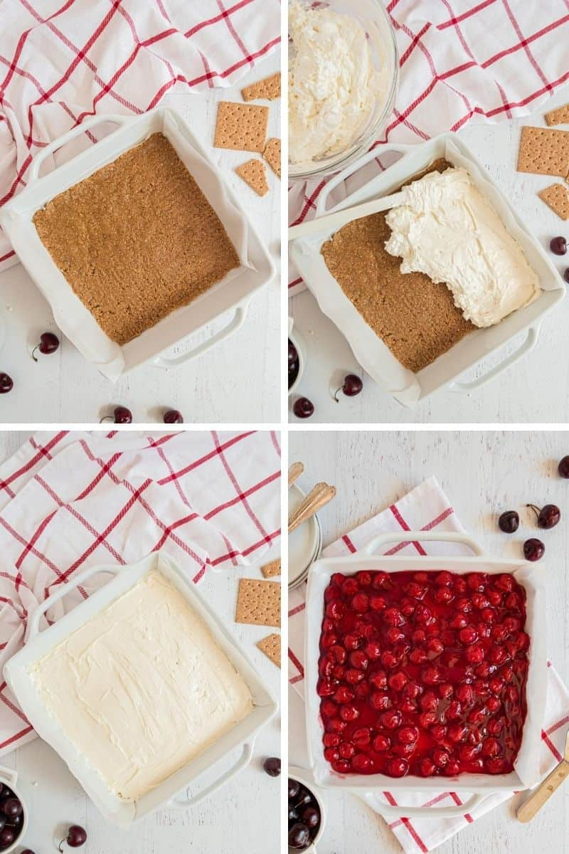 Steps to make cherry cheesecake: graham cracker crust, cheesecake layer, top with cherry pie filling