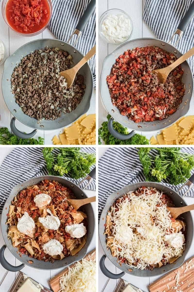 Ground beef in skillet, adding tomatoes, ricotta cheese, and topping with mozzarella.