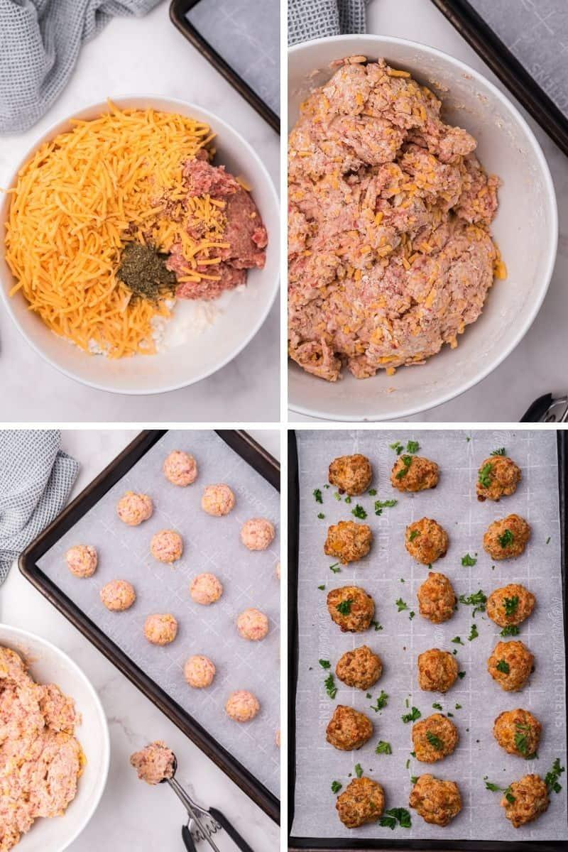 steps to make sausage balls: combine cheese, sausage, bisquick, form balls, bake.