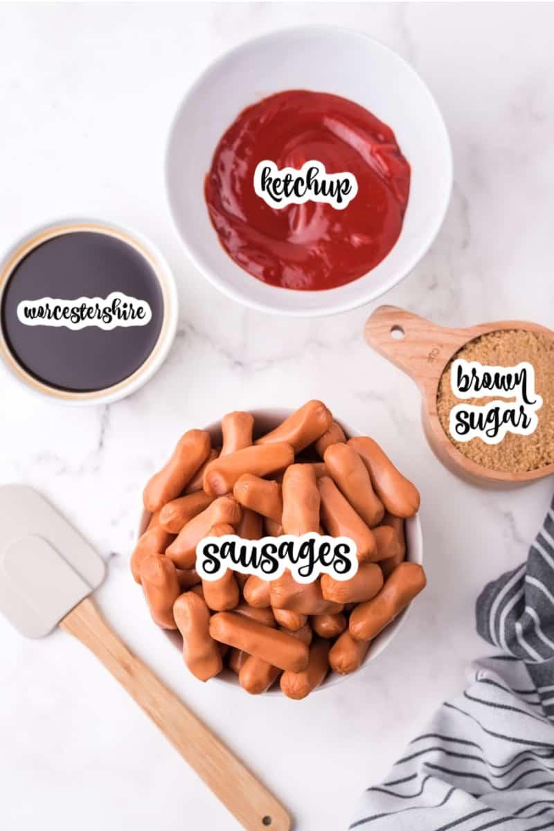 ingredients: worcestershire sauce, ketchup, brown sugar, sausages
