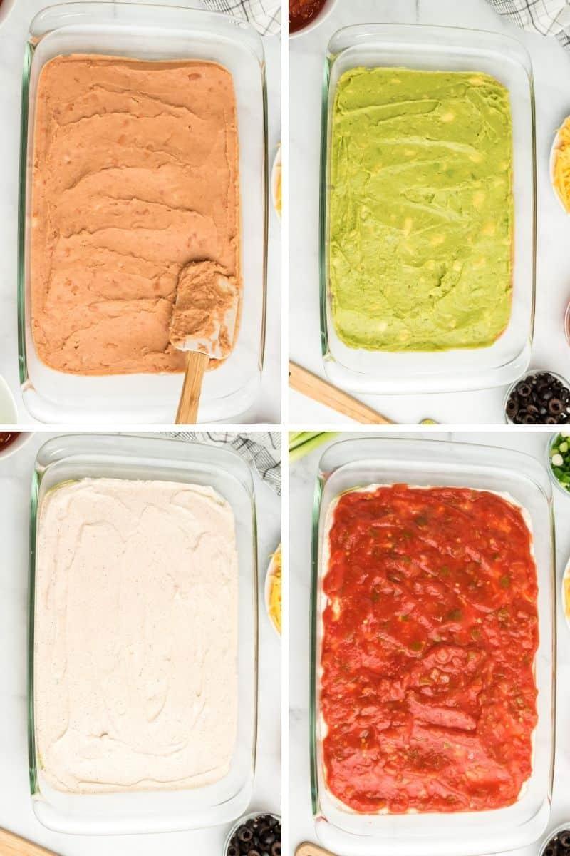 bean layer, avocado layer, sour cream layer, salsa layer