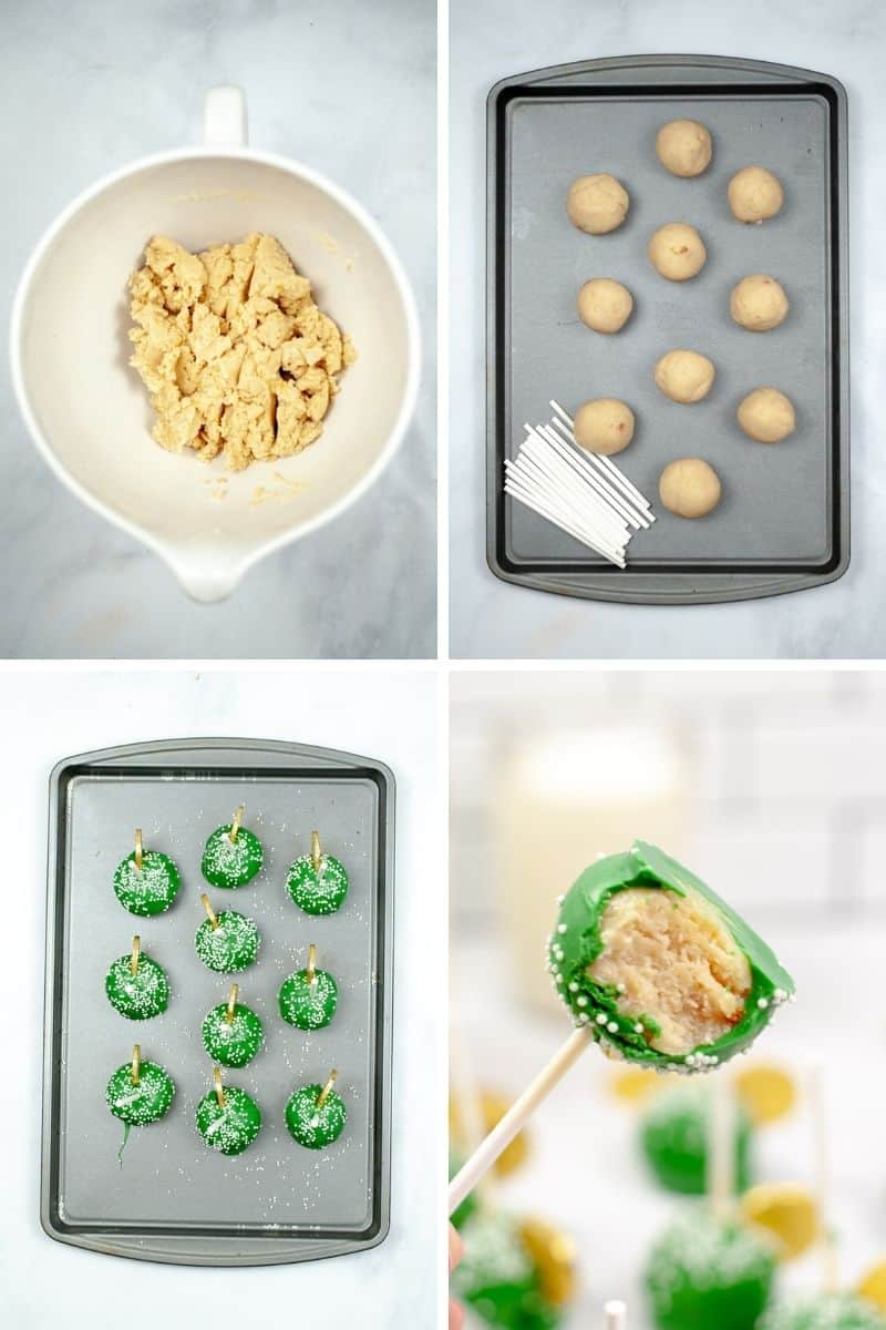 steps to make cake pops: crumble cake mix with frosting, roll into balls, coat in chocolate and put stick in