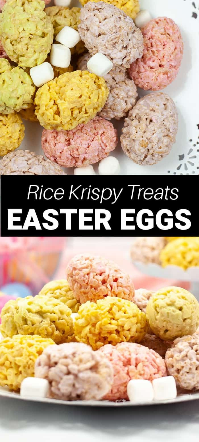 Rice krispie treat Easter eggs are a fun way to eat Rice Krispie treats at Easter! These crispy marshmallow treats are formed into an Easter egg and are so easy to make!