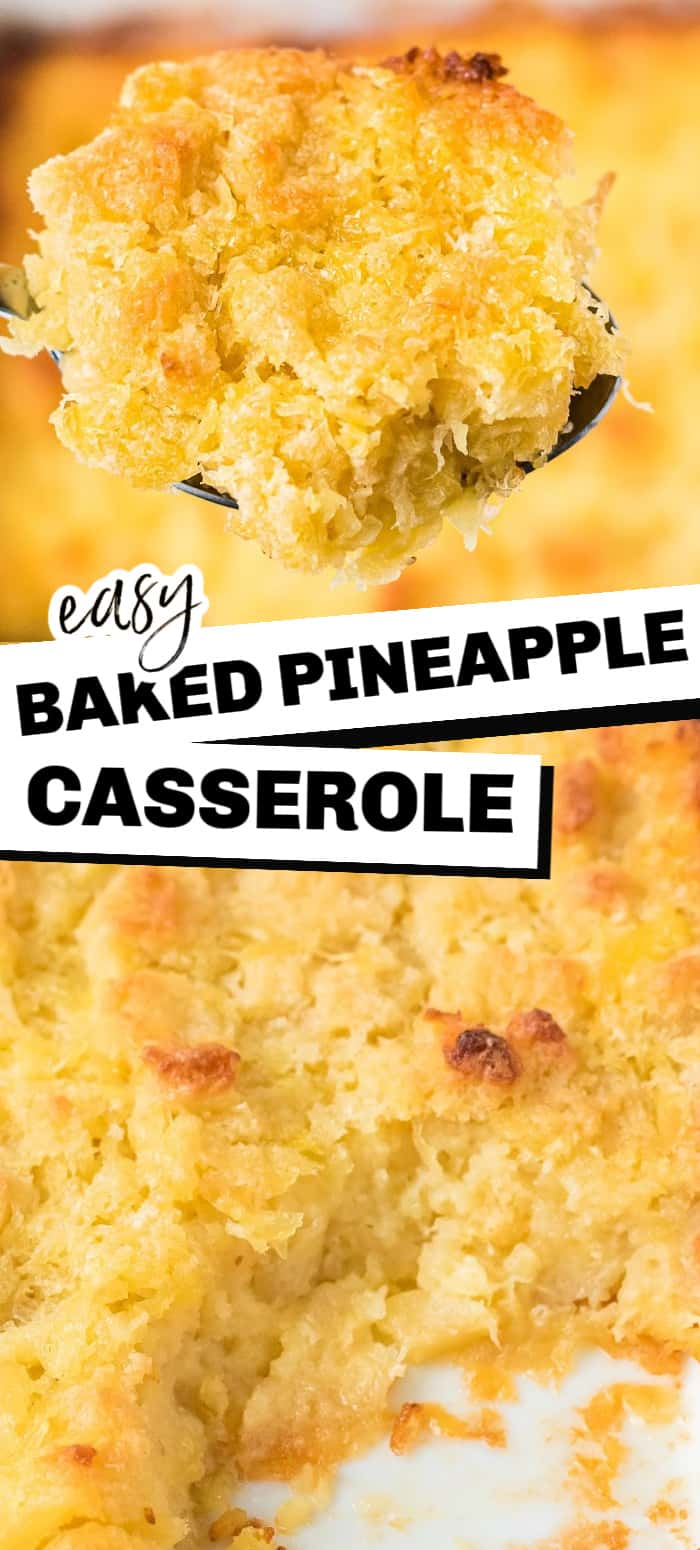 This classic southern Pineapple Bread Casserole is like a sweet bread pudding made with crushed pineapple, cubed white bread, eggs, and butter. It's a popular side dish and perfect for Easter, Thanksgiving, and Christmas! It's the perfect side for a glazed ham.