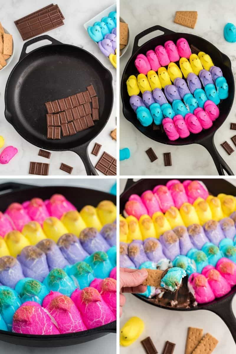 steps: chocolate pieces in cast iron skillet, top with peeps, roasted peeps, finished peeps with graham cracker
