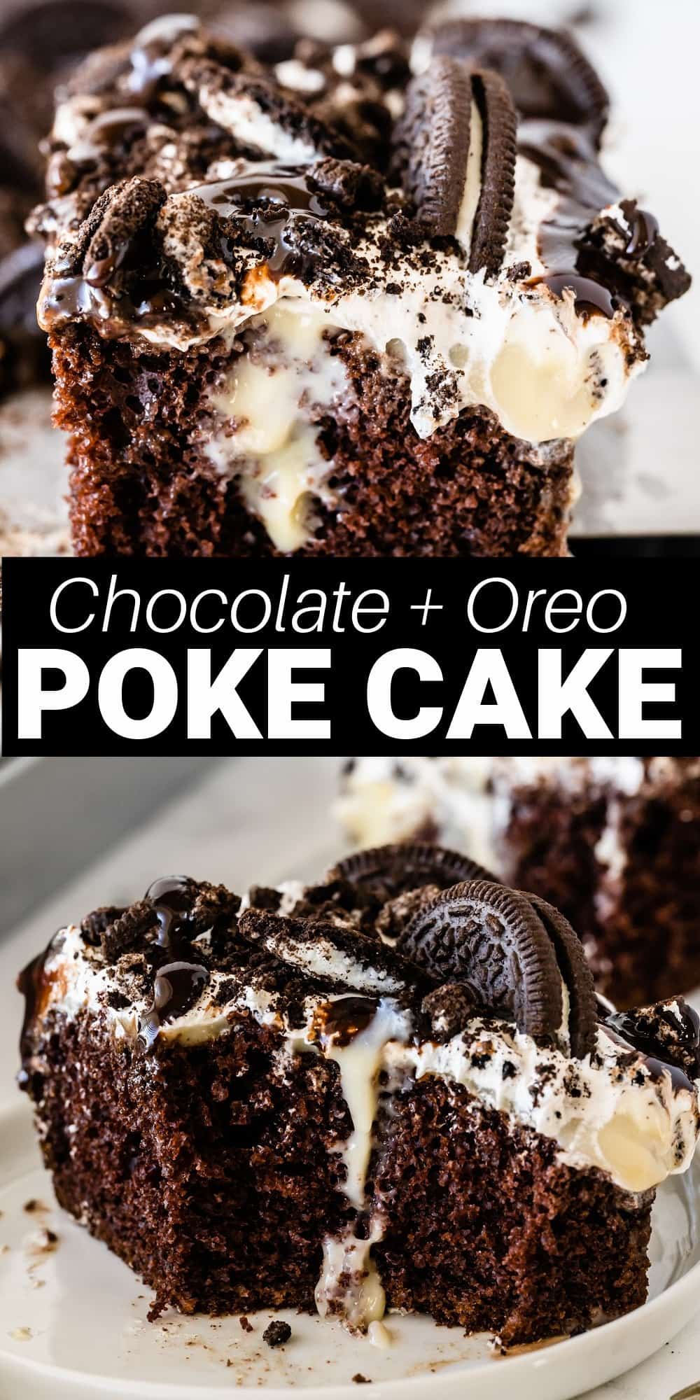 This Oreo poke cake is an easy and delicious moist chocolate cake that's loaded with cream pudding and topped with a whipped topping, Oreos and chocolate cause. It's an Oreo-lovers dream and is perfect for a birthday party, holiday, or a get together with family and friends.