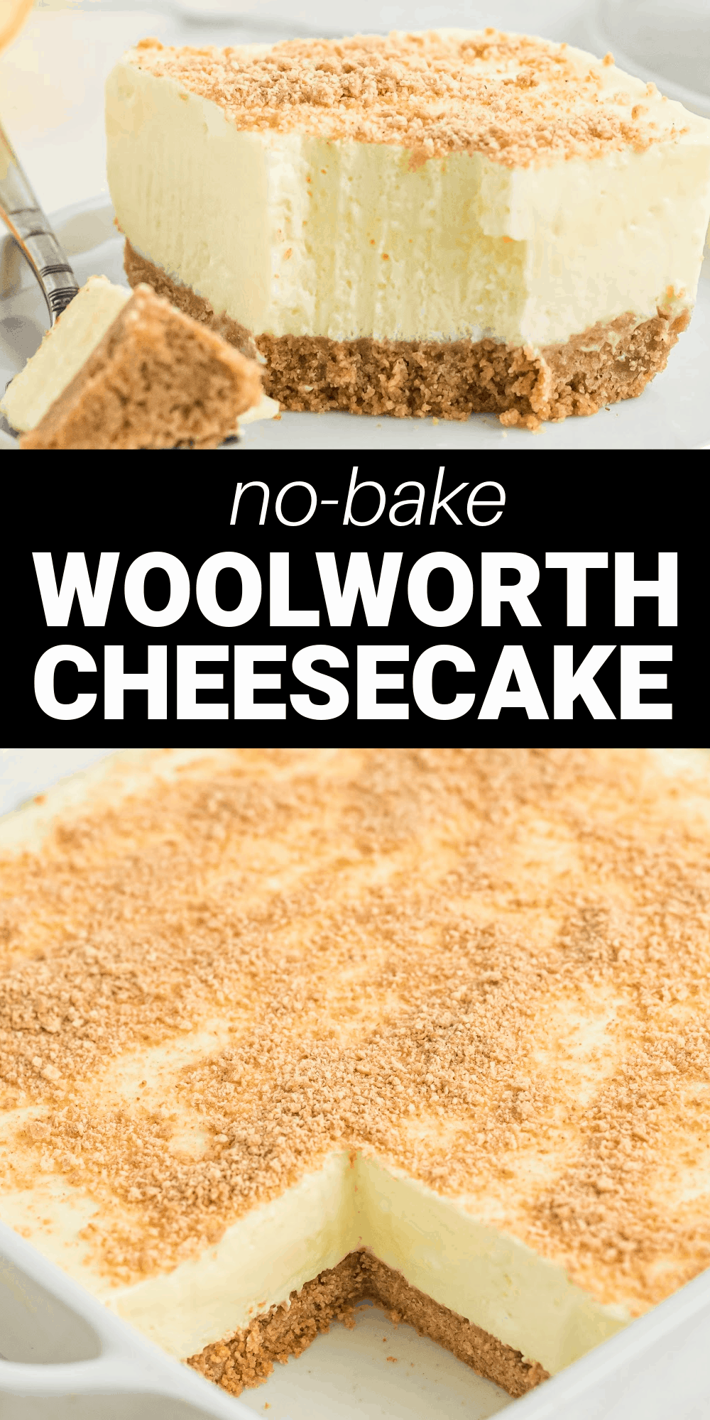 This classic Woolworth Cheesecake is a light and fluffy cheesecake with a hint of lemon flavor. Made with Jell-O, whipped cream, cream cheese, and a graham cracker crust, it has an amazing creamy texture and taste.