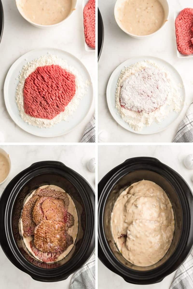 cube steak, then dredge cube steak in flour, put in crock pot, and cube steak in crock pot covered with mushroom soup