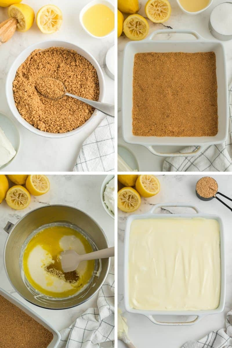 four steps: mix graham crackers and melted butter; put in the bottom of a white dish; mix cheesecake ingredients in bowl, then pour on top of graham cracker crust